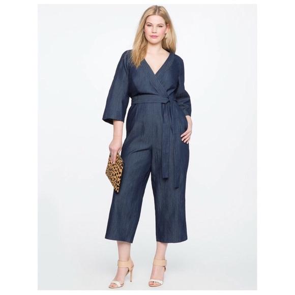 7820fd6b0fb Eloquii Pants - Eloquii Chambray Faux Wrap Jumpsuit Size 20